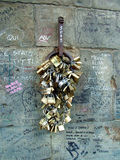 Locks of love. Locks on the wall, tradition for people in love florence italy and graffiti royalty free stock photos