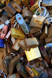 LOCKS OF LOVE. Locks on the bridge, tradition for italian people in love royalty free stock images