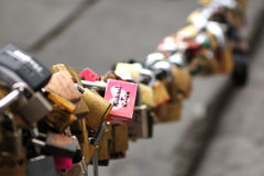 Locks of love. At the Ponte Vecchio bridge in Florence which the government are trying to be ban Royalty Free Stock Photo