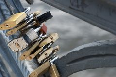 Locks of Love in Berlin. Love locks connected to the Weidendammer Bridge in Berlin, Germany Royalty Free Stock Photography
