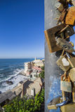 Locks of love in Boccadasse Royalty Free Stock Photography