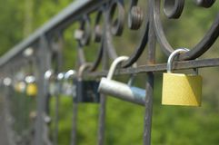 Locks of love on bridge Royalty Free Stock Photos