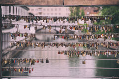 Locks of love on bridge Stock Photos