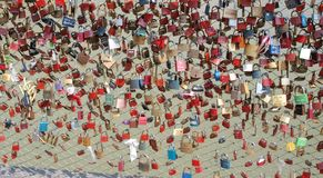 Locks of Love, a bridge over the river Salzach, Salzburg Royalty Free Stock Images
