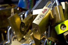 Locks for love on the bridge railing Royalty Free Stock Images