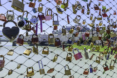 Locks of Love. On a bridge in Salzburg Stock Photo