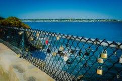 Cliff Walk - Newport RI - Locks of Love Stock Photography