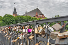 Locks of love on Medovy Bridge. Kaliningrad.Russia Stock Image