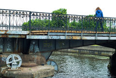 Locks of love on Medovy Bridge. Kaliningrad.Russia Stock Images