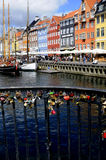 LOCKS OF LOVE_NYHAVN CANAL COPENHAGEN_DENMARK Stock Image
