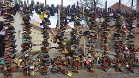 Locks of love. Padlocks to represent relationships stock photography
