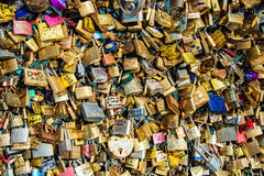 Locks of love. At Paris bridge royalty free stock image