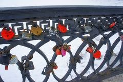 Locks of Love. On the railing of the bridge Royalty Free Stock Photos