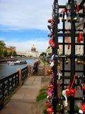 Locks of love in Saint-Petersburg. Summer romantic day in Saint Petersburg Royalty Free Stock Photography