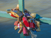 Locks of Love. And Valentine Hearts stock photo