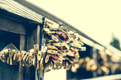 Locks on lover bridge Royalty Free Stock Images