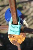 Locks of lovers on the bridge Royalty Free Stock Photography
