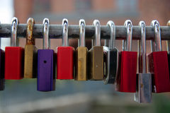 Locks from Lovers. Lovers are fixing locks a bridges to promise deep love forever Royalty Free Stock Photography