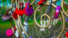 Locks lovers. Wedding traditions for newlyweds. Love symbol Stock Photos