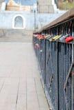 Locks on the metal fence Stock Image