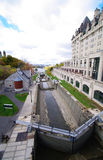 Locks of ottawa. Eight locks between the rideau canal and the outaouais river in ottawa in canada Royalty Free Stock Photos