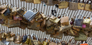 Locks on Paris Bridge Royalty Free Stock Photography