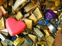 Locks at Paris bridge at love bridge in Paris Stock Images