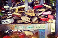 Locks of people in love on a street fence in the center of the city,. BUDAPEST, HUNGARY - 22 AUGUST 2017:Locks of people in love on a street fence in the center Royalty Free Stock Image