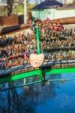 Locks on railing of bridge Royalty Free Stock Photo