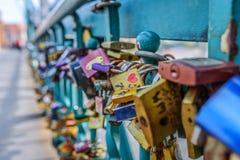 Locks on railing of bridge Royalty Free Stock Image