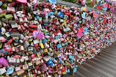 Locks at the Railings. At Seoul South Korea. Lovers lock the  to memorize their loves. It is a famous tourist spot Royalty Free Stock Image