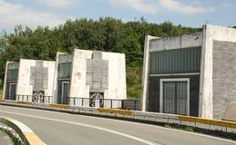 Locks on a reservoir stock photos