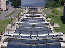 Locks on Rideau Canal. Seven locks connecting the Rideau Canal with the Ottawa River in Ottawa, National Capital Region, Canada stock images