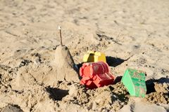 Locks on the sand. Fun in the sand on the beach on a sunny day. stock images