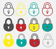 Locks set. Of different colored on white royalty free illustration