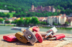 Locks symbolizing love. On a bridge in Heidelberg Stock Photos