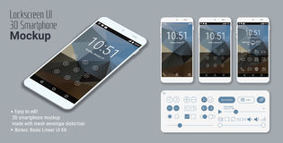 Lockscreen mobile UI smartphone mockup. 3d isometric flat design lockscreen mobile UI mock up, with triangular abstract geometric landscape background and basic Stock Image
