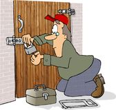 Locksmith. This illustration that I created depicts a man working on a lock Royalty Free Stock Photos