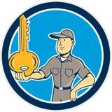 Locksmith Balancing Key Palm Circle Cartoon. Illustration of a locksmith standing balancing key on palm hand set inside circle on isolated background done in Stock Photos