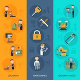 Locksmith Banners Vertical. Set with maintenance tools flat elements isolated vector illustration Royalty Free Stock Image