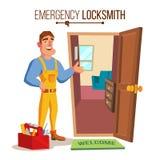 Locksmith Door Service Vector. Professional Master Repairman. Isolated Flat Cartoon Character Illustration. Emergency Locksmith Service Vector. Professional Stock Photo