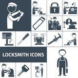 Locksmith Icons Black Royalty Free Stock Images