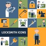 Locksmith Icons Set. Locksmith repairman metal worker master decorative icons set isolated vector illustration Stock Photos