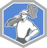 Locksmith Niesie Kluczową osłonę Retro ilustracja wektor