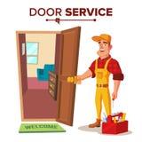 Locksmith Repairman Vector. Unlock The Door Service. Cartoon Character Illustration. Emergency Locksmith Service Vector. Professional Locksmith Mechanic Work Stock Photos