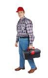 Locksmith with toolbox Royalty Free Stock Image