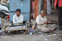 Locksmiths trade on the main street in Jaipur, India. Royalty Free Stock Photography