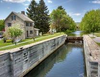 Locktenders House at Lock #23, Walnutport, Pennsylvania, USA. Walnutport Canal and Locktenders House is found on the Lehigh Canal in Walnutport, Pennsylvania Stock Photo
