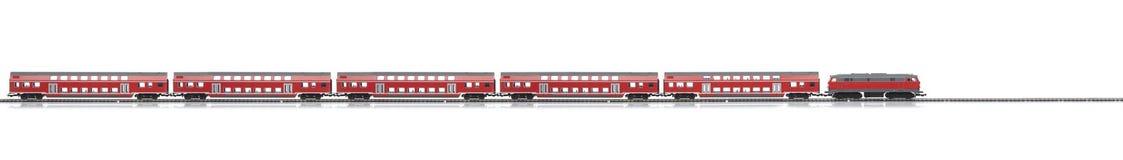 Loco con los carros rojos de los pasajeros Foto de archivo libre de regalías