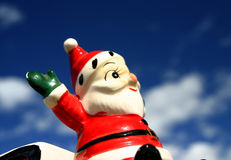 Loco Santa 2. Antique Santa In Flight, Christmas Stock Photo